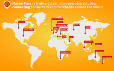 MasterPass from MasterCard logo and world map with pins in key cities