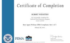 Robert Weinstein Completes FEMA's National Flood Insurance Program Basic Agent Webinar