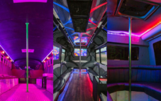party bus insides of three buses with dancing poles and floor lights