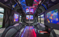 Party Bus Interior with LED lighting and large music speakers